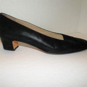 Salvatore Ferragamo Black Leather Chunky Heels